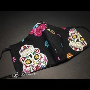 Hand Crafted Accessories - Glitter Sugar Skull Face Cover